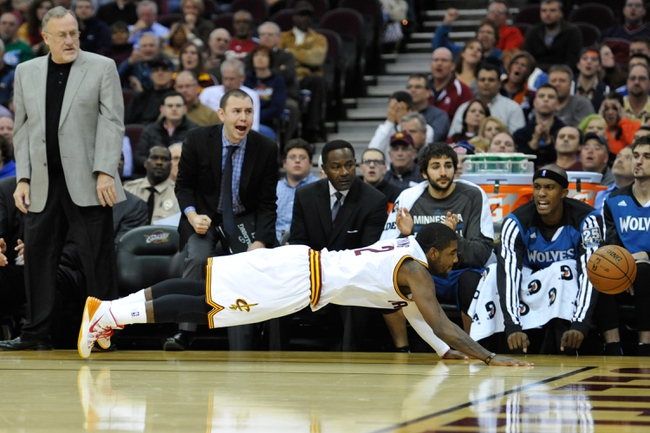 Nov 4, 2013; Cleveland, OH, USA; Cleveland Cavaliers point guard Kyrie Irving (2) during a game against the Minnesota Timberwolves at Quicken Loans Arena. Cleveland won 93-92. Mandatory Credit: David Richard-USA TODAY Sports