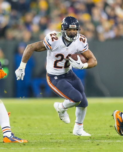 Nov 4, 2013; Green Bay, WI, USA; Chicago Bears running back Matt Forte (22) during the game against the Green Bay Packers at Lambeau Field. Chicago won 27-20.  Mandatory Credit: Jeff Hanisch-USA TODAY Sports