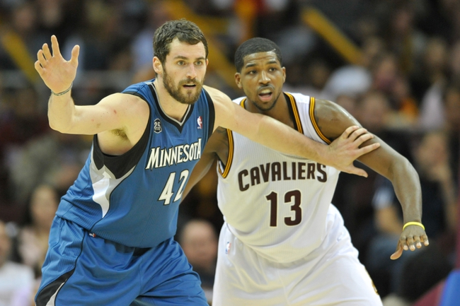 Nov 4, 2013; Cleveland, OH, USA; Minnesota Timberwolves power forward Kevin Love (42) and Cleveland Cavaliers power forward Tristan Thompson (13) at Quicken Loans Arena. Cleveland won 93-92. Mandatory Credit: David Richard-USA TODAY Sports