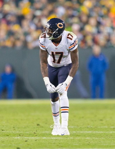 Nov 4, 2013; Green Bay, WI, USA; Chicago Bears wide receiver Alshon Jeffery (17) during the game against the Green Bay Packers at Lambeau Field. Chicago won 27-20.  Mandatory Credit: Jeff Hanisch-USA TODAY Sports