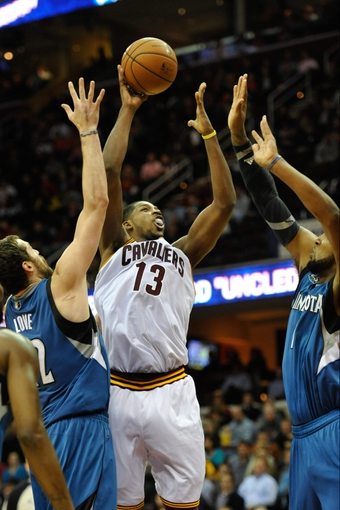 Nov 4, 2013; Cleveland, OH, USA; Cleveland Cavaliers power forward Tristan Thompson (13) during a game against the Minnesota Timberwolves at Quicken Loans Arena. Cleveland won 93-92. Mandatory Credit: David Richard-USA TODAY Sports