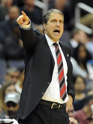 Nov 8, 2013; Washington, DC, USA; Washington Wizards head coach Randy Wittman yells instructions against the Brooklyn Nets during the first half at the Verizon Center. Mandatory Credit: Brad Mills-USA TODAY Sports