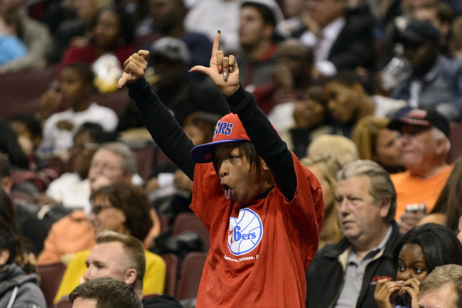 Nov 8, 2013; Philadelphia, PA, USA; A Philadelphia 76ers fan reacts to Cleveland Cavaliers center Andrew Bynum (not pictured) coming into the game during the third quarter at Wells Fargo Center. The Sixers defeated the Cavaliers 94-79. Mandatory Credit: Howard Smith-USA TODAY Sports