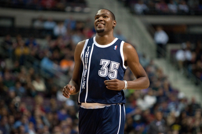 Nov 8, 2013; Auburn Hills, MI, USA; Oklahoma City Thunder small forward Kevin Durant (35) reacts during the fourth quarter against the Detroit Pistons at The Palace of Auburn Hills. Mandatory Credit: Tim Fuller-USA TODAY Sports