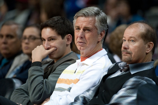 Nov 8, 2013; Auburn Hills, MI, USA; Detroit Tigers general manager David Dombrowski watches during the game between the Detroit Pistons and the Oklahoma City Thunder at The Palace of Auburn Hills. Mandatory Credit: Tim Fuller-USA TODAY Sports