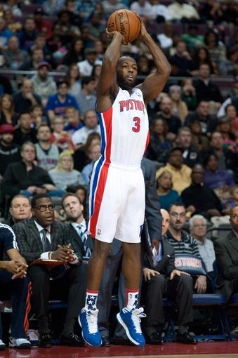 Nov 8, 2013; Auburn Hills, MI, USA; Detroit Pistons shooting guard Rodney Stuckey (3) shoots during the third quarter against the Oklahoma City Thunder at The Palace of Auburn Hills. Mandatory Credit: Tim Fuller-USA TODAY Sports