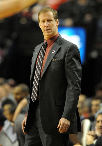 Nov 8, 2013; Portland, OR, USA; Portland Trail Blazers head coach Terry Stotts react to an official's call during the first quarter of the game against the Sacramento Kings at the Moda Center. Mandatory Credit: Steve Dykes-USA TODAY Sports