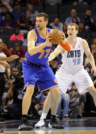 Nov 8, 2013; Charlotte, NC, USA; New York Knicks forward center Andrea Bargnani (77) Looks to pass during the game against the Charlotte Bobcats at Time Warner Cable Arena. Knicks win 101-91. Mandatory Credit: Sam Sharpe-USA TODAY Sports