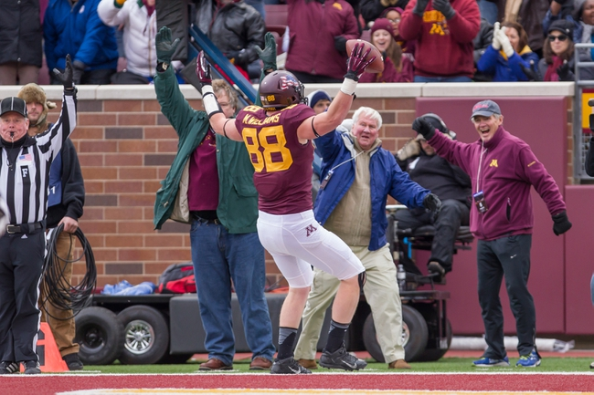 Nov 9, 2013; Minneapolis, MN, USA; Minnesota Gophers tight end Maxx Williams (88) celebrates his touchdown in the second quarter against the Penn State Nittany Lions at TCF Bank Stadium. Mandatory Credit: Brad Rempel-USA TODAY Sports