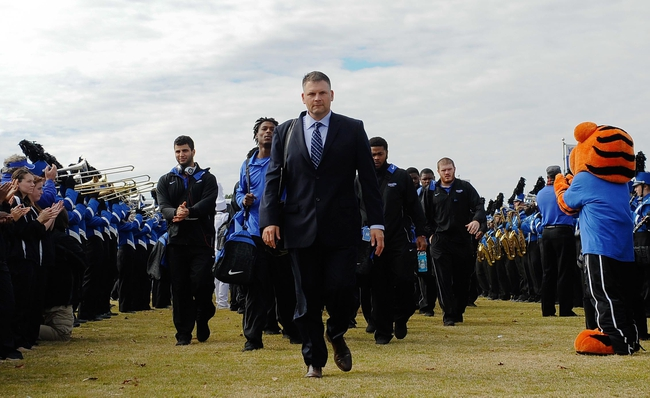 Nov 9, 2013; Memphis, TN, USA; Memphis Tigers head coach Justin Fuente before the game against Tennessee Martin Skyhawks at Liberty Bowl Memorial. Mandatory Credit: Justin Ford-USA TODAY Sports