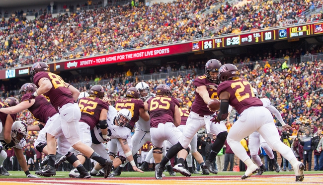 Nov 9, 2013; Minneapolis, MN, USA; Minnesota Gophers quarterback Philip Nelson (9) hands the ball off to running back David Cobb (27) in the third quarter against the Penn State Nittany Lions at TCF Bank Stadium. Minnesota wins 24-10. Mandatory Credit: Brad Rempel-USA TODAY Sports