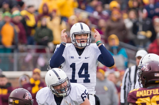 Nov 9, 2013; Minneapolis, MN, USA; Penn State Nittany Lions quarterback Christian Hackenberg (14) signals his team in the fourth quarter against the Minnesota Gophers at TCF Bank Stadium. Minnesota wins 24-10. Mandatory Credit: Brad Rempel-USA TODAY Sports