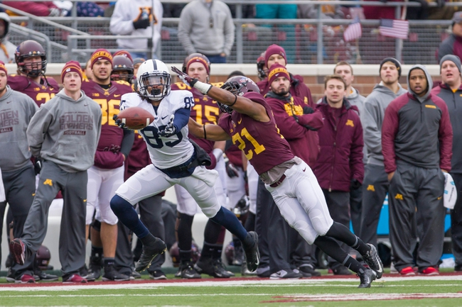 Nov 9, 2013; Minneapolis, MN, USA; Penn State Nittany Lions tight end Tom Pancoast (89) tries to catch the ball in the third quarter against the Minnesota Gophers at TCF Bank Stadium. Minnesota wins 24-10. Mandatory Credit: Brad Rempel-USA TODAY Sports