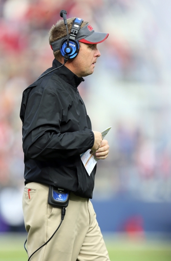 Nov 9, 2013; Oxford, MS, USA; Mississippi Rebels head coach Hugh Freeze during the game against the Arkansas Razorbacks at Vaught-Hemingway Stadium. Mississippi Rebels defeat the Arkansas Razorbacks with a score of 34-24.  Mandatory Credit: Spruce Derden-USA TODAY Sports