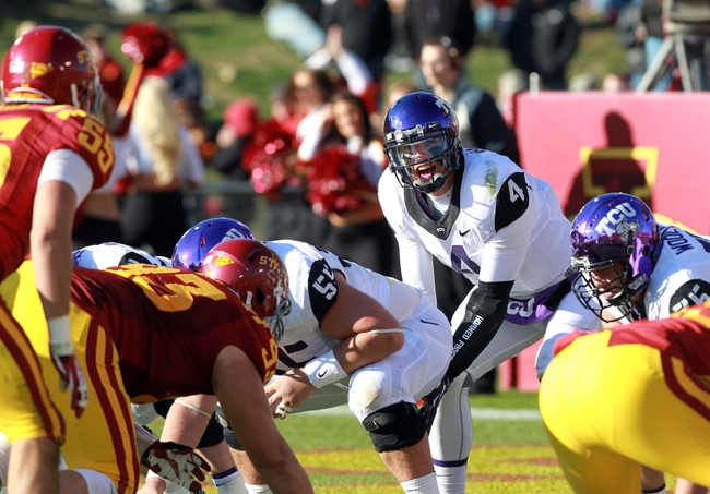 Nov 9, 2013; Ames, IA, USA; Texas Christian Horned Frogs quarterback Casey Pachall (4) calls out signals against the Iowa State Cyclones at Jack Trice Stadium.  Texas Christian beat Iowa State 21-17.  Mandatory Credit: Reese Strickland-USA TODAY Sports