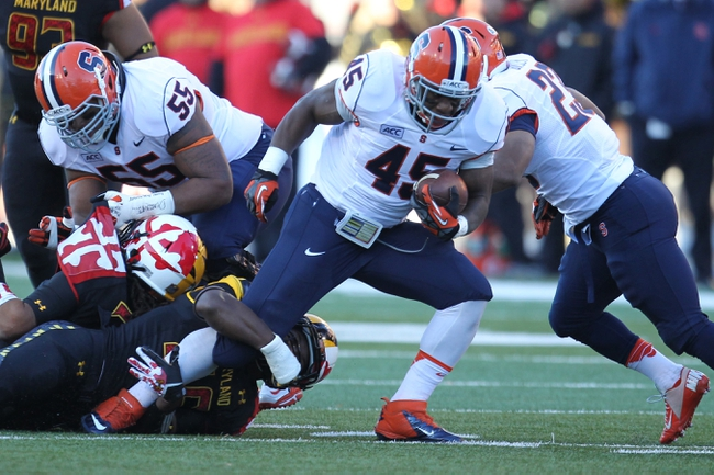 Nov 9, 2013; College Park, MD, USA; Syracuse Orange running back Jerome Smith (45) runs for a gain against the Maryland Terrapins at Byrd Stadium. Mandatory Credit: Mitch Stringer-USA TODAY Sports