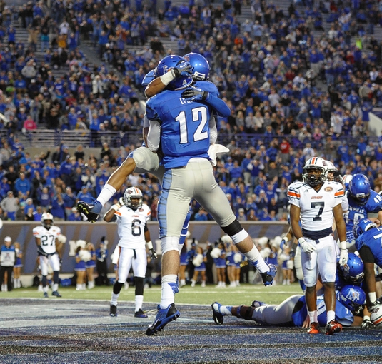 Nov 9, 2013; Memphis, TN, USA; Memphis Tigers quarterback Paxton Lynch (12) celebrates after scoring a touchdown against Tennessee Martin Skyhawks during the second quarter at Liberty Bowl Memorial. Mandatory Credit: Justin Ford-USA TODAY Sports
