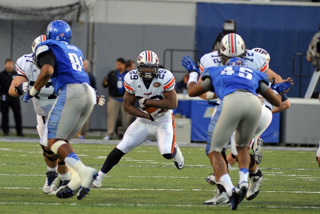 Nov 9, 2013; Memphis, TN, USA; Tennessee Martin Skyhawks running back Abou Toure (29) carries the ball against Memphis Tigers during the second quarter at Liberty Bowl Memorial. Mandatory Credit: Justin Ford-USA TODAY Sports