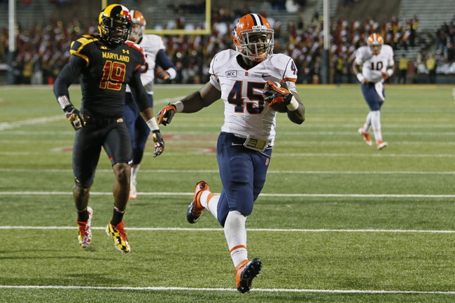 Nov 9, 2013; College Park, MD, USA; Syracuse Orange running back Jerome Smith (45) rushes for a touchdown past Maryland Terrapins defensive back A.J. Hendy (19) at Byrd Stadium. Mandatory Credit: Mitch Stringer-USA TODAY Sports