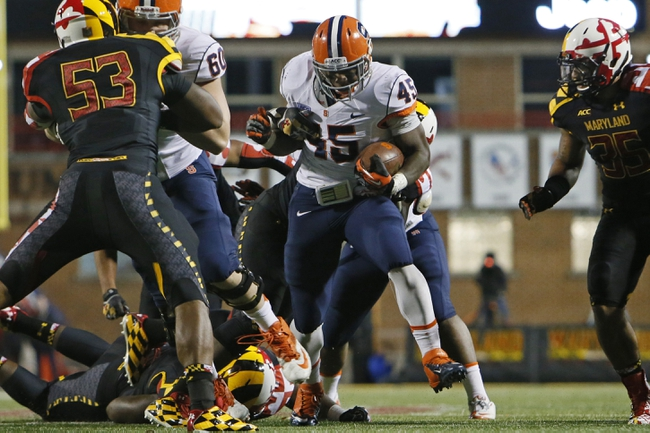 Nov 9, 2013; College Park, MD, USA; Syracuse Orange running back Jerome Smith (45) ru