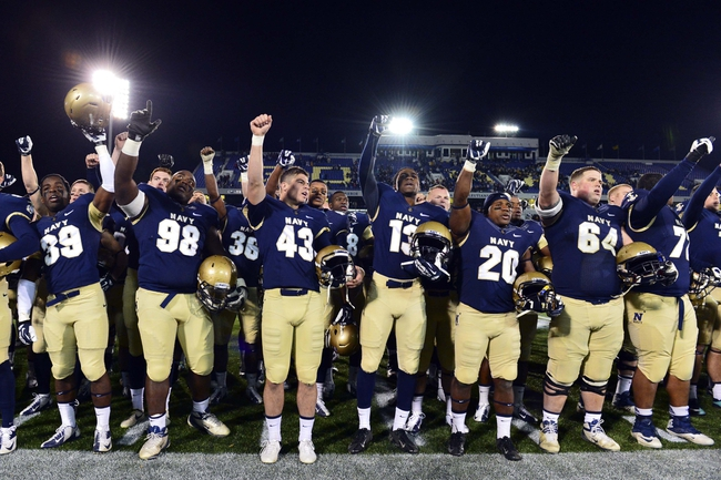 "Nov 9, 2013; Annapolis, MD, USA; The Navy Midshipmen yell ""Beat Army"" after the playing of the school song 'Blue and Gold"" at the completion of the Hawaii Warriors vs Navy Midshipmen game at Navy Marine Corps Memorial Stadium. Navy defeated Hawaii 42-38 Mandatory Credit: Tommy Gilligan-USA TODAY Sports"