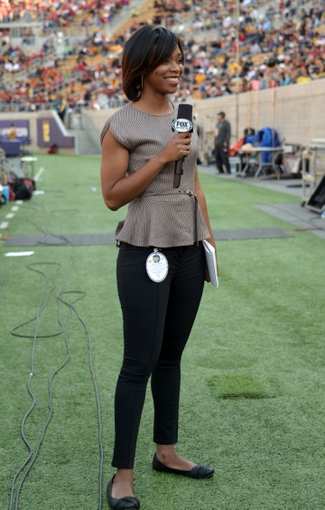 Nov 9, 2013; Berkeley, CA, USA; Fox Sports sideline reporter Kristina Pink attends the game between the Southern California Trojans and the California Golden Bears at Memorial Stadium. Mandatory Credit: Kirby Lee-USA TODAY Sports
