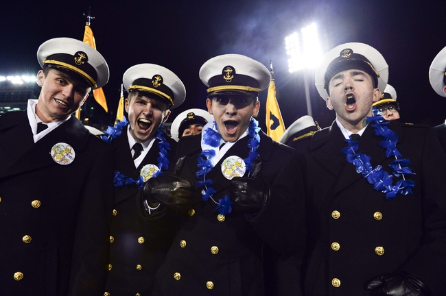 Nov 9, 2013; Annapolis, MD, USA; The Brigade of Midshipman celebrate after a touchdown during the third quarter of the Hawaii Warriors vs Navy Midshipmen game at Navy Marine Corps Memorial Stadium. Navy defeated Hawaii 42-38 Mandatory Credit: Tommy Gilligan-USA TODAY Sports