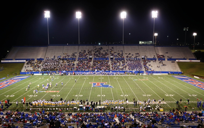 Nov 9, 2013; Ruston, LA, USA; A general view of Joe Aillet Stadium during the first quarter of the game between the Louisiana Tech Bulldogs and the Southern Miss Golden Eagles. Mandatory Credit: Chuck Cook-USA TODAY Sports