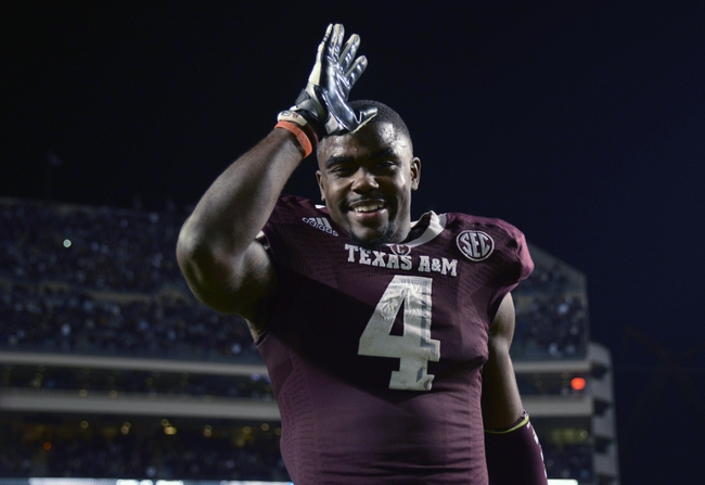 Nov 9, 2013; College Station, TX, USA; Texas A&M Aggies defensive back Toney Hurd Jr. (4) walks off the field against the Mississippi State Bulldogs during the second half at Kyle Field. Texas A&M won 51-41. Mandatory Credit: Thomas Campbell-USA TODAY Sports