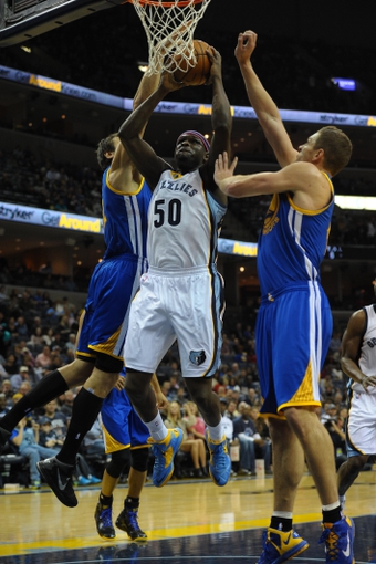 Nov 9, 2013; Memphis, TN, USA; Memphis Grizzlies power forward Zach Randolph (50) fights for a rebound against Golden State Warriors during the first quarter at FedExForum. Mandatory Credit: Justin Ford-USA TODAY Sports