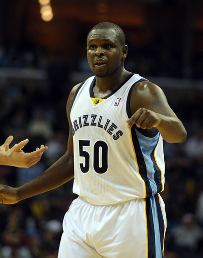 Nov 9, 2013; Memphis, TN, USA; Memphis Grizzlies power forward Zach Randolph (50) reacts to a call during the game against Golden State Warriors during the second quarter at FedExForum. Mandatory Credit: Justin Ford-USA TODAY Sports