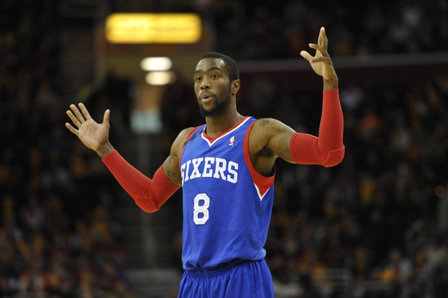 Nov 9, 2013; Cleveland, OH, USA; Philadelphia 76ers shooting guard Tony Wroten (8) reacts in the third quarter against the Cleveland Cavaliers at Quicken Loans Arena. Mandatory Credit: David Richard-USA TODAY Sports