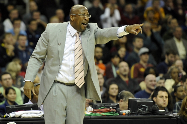 Nov 9, 2013; Cleveland, OH, USA; Cleveland Cavaliers head coach Mike Brown reacts in overtime against the Philadelphia 76ers at Quicken Loans Arena. Mandatory Credit: David Richard-USA TODAY Sports
