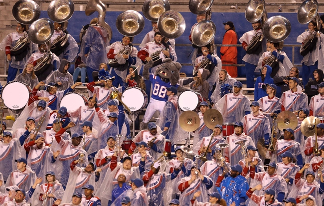 Nov 9, 2013; Ruston, LA, USA; The Louisiana Tech Bulldog marching band plays in the rain during the second half of their game against the Southern Miss Golden Eagles at Joe Aillet Stadium. Mandatory Credit: Chuck Cook-USA TODAY Sports