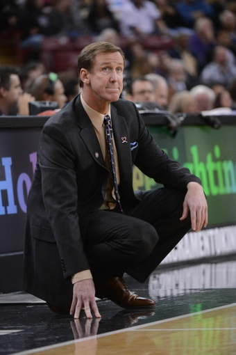 November 9, 2013; Sacramento, CA, USA; Portland Trail Blazers head coach Terry Stotts watches from the sideline against the Sacramento Kings during the third quarter at Sleep Train Arena. The Trail Blazers defeated the Kings 96-85. Mandatory Credit: Kyle Terada-USA TODAY Sports
