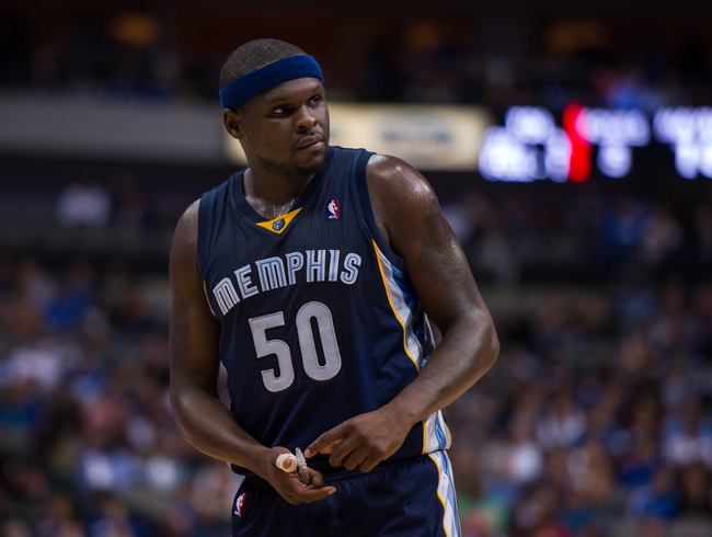 Nov 2, 2013; Dallas, TX, USA; Memphis Grizzlies power forward Zach Randolph (50) waits for play to resume against the Dallas Mavericks during the game at the American Airlines Center. The Mavericks defeated the Grizzlies 111-99. Mandatory Credit: Jerome Miron-USA TODAY Sports
