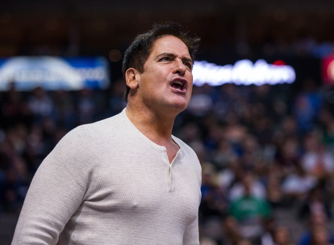 Nov 2, 2013; Dallas, TX, USA; Dallas Mavericks owner Mark Cuban yells at the referees during the game against the Memphis Grizzlies at the American Airlines Center. The Mavericks defeated the Grizzlies 111-99. Mandatory Credit: Jerome Miron-USA TODAY Sports