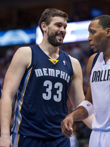 Nov 2, 2013; Dallas, TX, USA; Memphis Grizzlies center Marc Gasol (33) and Dallas Mavericks small forward Shawn Marion (0) during the game at the American Airlines Center. The Mavericks defeated the Grizzlies 111-99. Mandatory Credit: Jerome Miron-USA TODAY Sports