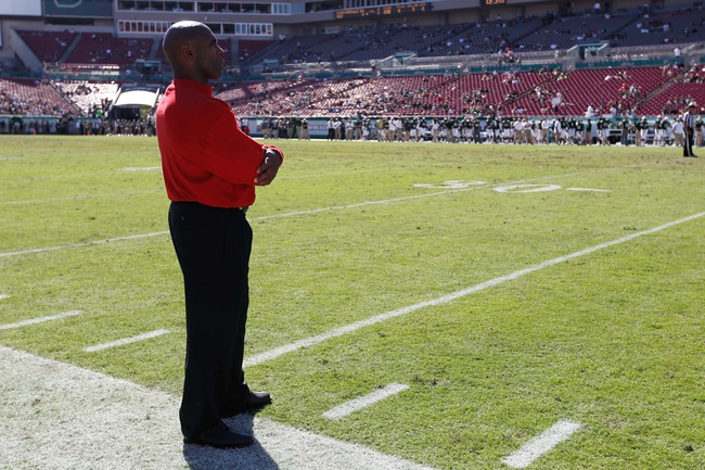 Oct 26, 2013; Tampa, FL, USA; Louisville Cardinals head coach Charlie Strong watches from the sidelines against the South Florida Bulls during the second half at Raymond James Stadium. Mandatory Credit: Kim Klement-USA TODAY Sports