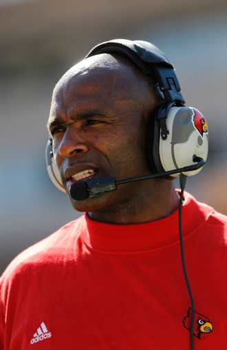 Oct 26, 2013; Tampa, FL, USA; Louisville Cardinals head coach Charlie Strong against the South Florida Bulls during the second half at Raymond James Stadium. Mandatory Credit: Kim Klement-USA TODAY Sports