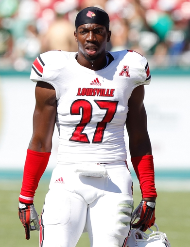 Oct 26, 2013; Tampa, FL, USA; Louisville Cardinals safety Jermaine Reve (27) against the South Florida Bulls during the second half at Raymond James Stadium. Mandatory Credit: Kim Klement-USA TODAY Sports