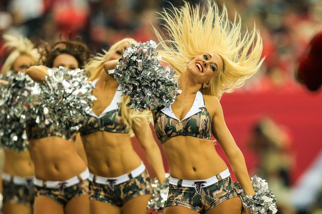 Nov 10, 2013; Atlanta, GA, USA; An Atlanta Falcons cheerleader dances during a time out in the first half against the Seattle Seahawks at the Georgia Dome. Mandatory Credit: Daniel Shirey-USA TODAY Sports
