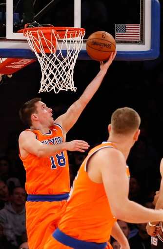 Nov 10, 2013; New York, NY, USA;  New York Knicks point guard Beno Udrih (18) at the net during the fourth quarter against the San Antonio Spurs at Madison Square Garden. Spurs won 120-89.  Mandatory Credit: Anthony Gruppuso-USA TODAY Sports