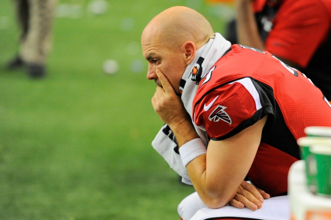 Nov 10, 2013; Atlanta, GA, USA; Atlanta Falcons place kicker Matt Bryant (3) reacts on the bench against the Seattle Seahawks during the second half at the Georgia Dome. The Seahawks defeated the Falcons 33-10. Mandatory Credit: Dale Zanine-USA TODAY Sports