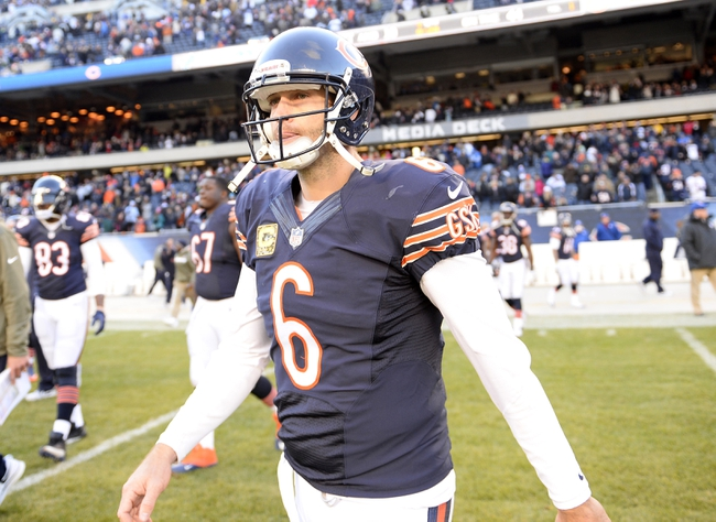 Nov 10, 2013; Chicago, IL, USA; Chicago Bears quarterback Jay Cutler (6) walks off the field after losing to the Detroit Lions at Soldier Field. Detroit defeats Chicago 21-19. Mandatory Credit: Mike DiNovo-USA TODAY Sports