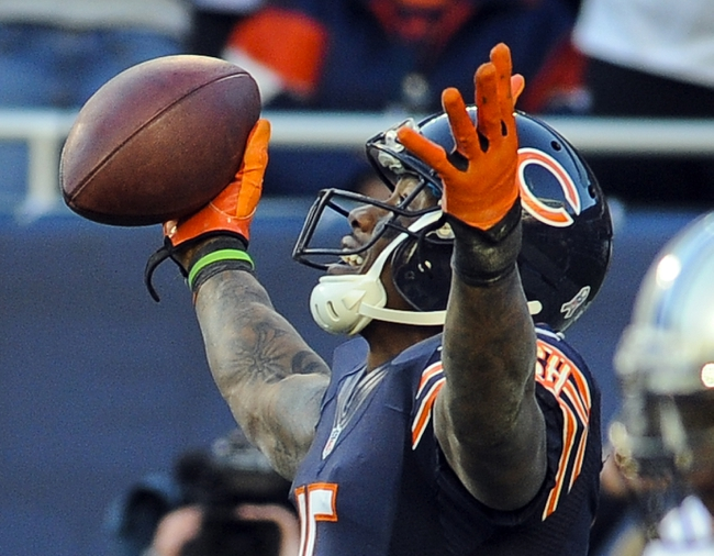 Nov 10, 2013; Chicago, IL, USA;  Chicago Bears wide receiver Brandon Marshall (15) scores a touchdown against the Lions at Soldier Field. Mandatory Credit: Matt Marton-USA TODAY Sports