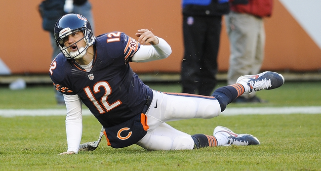 Nov 10, 2013; Chicago, IL, USA;  Chicago Bears quarterback Josh McCown (12) after getting flipped down by Detroit Lions defensive tackle Nick Fairley (98) at Soldier Field. Mandatory Credit: Matt Marton-USA TODAY Sports