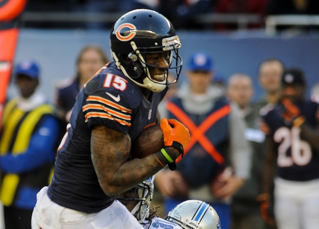 Nov 10, 2013; Chicago, IL, USA;  Chicago Bears wide receiver Brandon Marshall (15) runs against the Lions at Soldier Field. Mandatory Credit: Matt Marton-USA TODAY Sports