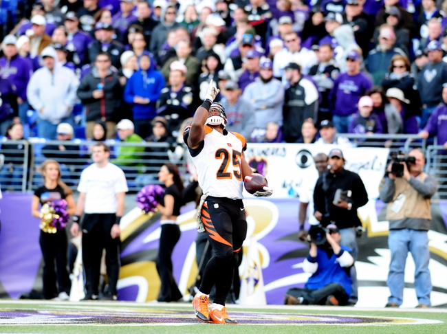 Nov 10, 2013; Baltimore, MD, USA; Cincinnati Bengals running back Giovani Bernard (25) reacts after scoring a touchdown in the fourth quarter against the Baltimore Ravens at M&T Bank Stadium. Mandatory Credit: Evan Habeeb-USA TODAY Sports