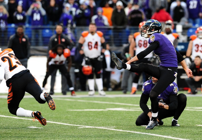 Nov 10, 2013; Baltimore, MD, USA; Baltimore Ravens kicker Justin Tucker (9) kicks the game winning field goal in overtime against the Cincinnati Bengals at M&T Bank Stadium. Mandatory Credit: Evan Habeeb-USA TODAY Sports